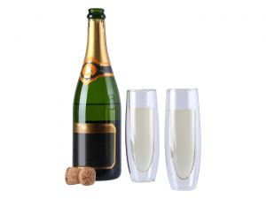 2 flûtes à champagne double-paroi