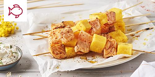 brochettes saumon ananas