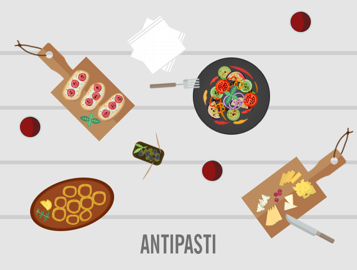 antipasti flat design